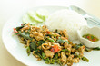 rice and chicken curry with basil leaves