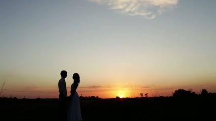Newlyweds go into the sunset.