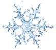 Leinwandbild Motiv snowflake from water splash with bubbles