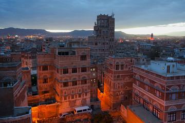 Night the Sana city, Yemen