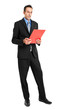 Full length businessman reading some documents