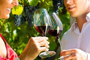 Frau und Mann am Weinberg trinken Wein