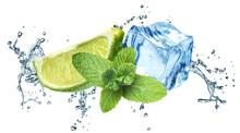 Kostki lodu, liście mięty, plusk wody i wapna na białym