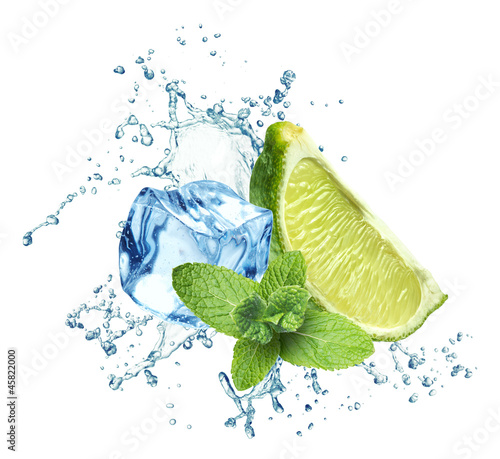 Ice cubes, mint leaves, water splash and lime on a white