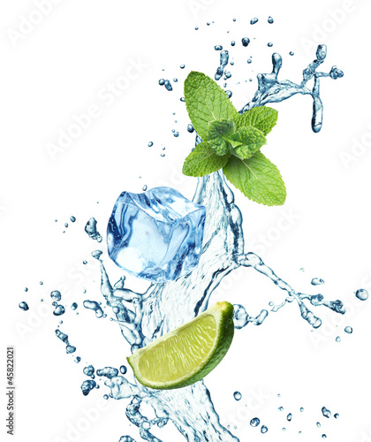 In de dag Opspattend water Ice cubes, mint leaves and lime on a white