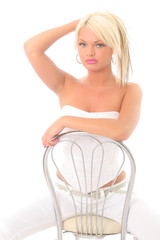 sexy blonde in a chair