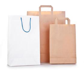 three shopping bag on white