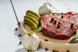 Raw steak ready to grill