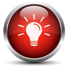 Vektor Glühbirne Button Rot