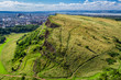 Sunny Edinburgh and green hills in summer