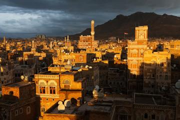 Sunset over the Sana city, Yemen