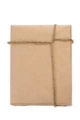 parcel wrapped with rope on white