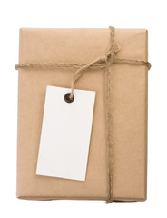 parcel wrapped packaged box and label on white