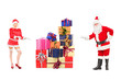 Full length portrait of a male and female Santa Clauses offering