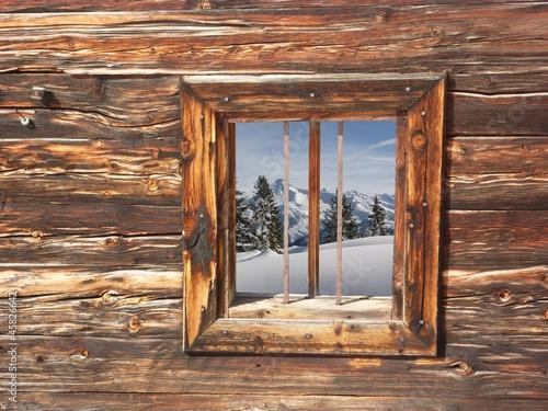 Fototapete winterlandschaft im holzfenster winterlicher for Holzfenster bestellen