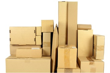 Stacked carton boxes post package on white background