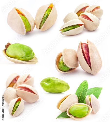 Collection of  Pistachio nuts isolated on white background