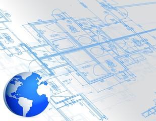 blueprint and globe illustration design