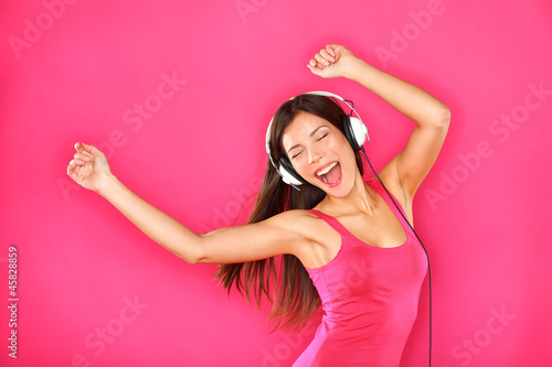 Woman dancing listening to music