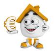 Kleines 3D Haus Orange - Euro Symbol