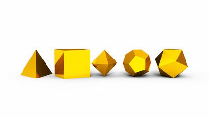 3D Platonische Körper der heiligen Geometrie - Gold
