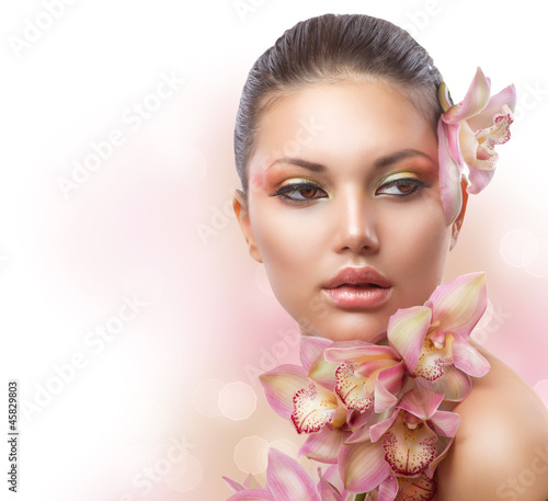 Fototapeten,schön,mädchen,orchidee,blume