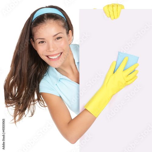Cleaning woman showing sign