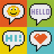 Pixel Social Networking Speech Bubbles: Smiley, Hello, Hi, Love