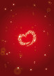 Abstract background heart stardust red