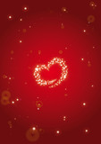 Abstract background heart stardust red poster