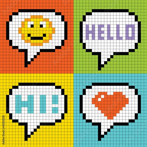 Deurstickers Pixel Pixel Social Networking Speech Bubbles: Smiley, Hello, Hi, Love