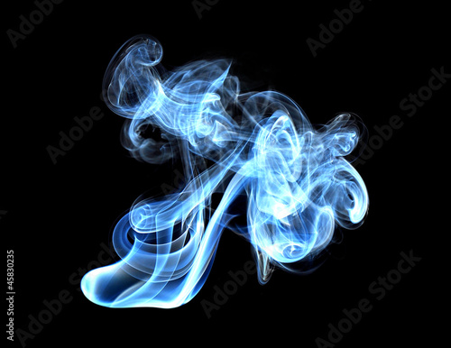 Abstract glowing of smoke isolated on black