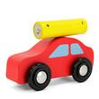 Rotes Holzauto mit Batterie auf Dach