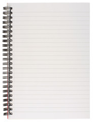 Spiral Bound Lined Notebook Page Isolated on White