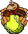 Tennis Happy Thanksgiving Holiday Turkey Cartoon Vector Illustra