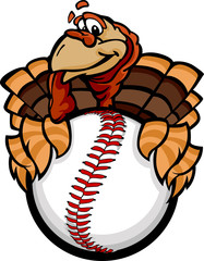Baseball or Softball Happy Thanksgiving Holiday Turkey Cartoon V