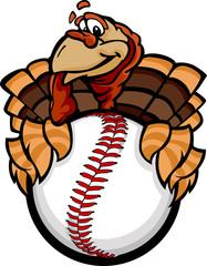 Baseball or Softball Happy Thanksgiving Holiday Turkey Cartoon V