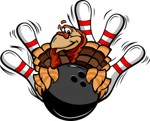 Bowling Thanksgiving Holiday Turkey Cartoon Vector Illustration