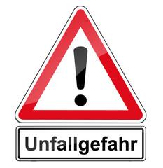 Warnschild RAL 3001 Signalrot freigestellt - Unfallgefahr