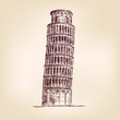 Pisa Tower - hand drawn  vector illustration  isolated