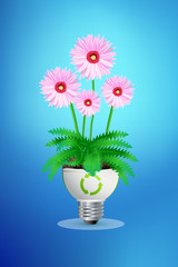 green eco energy concept, plant growing in the light bulb