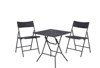 Rattan Gartenmöbel 2 Stühle 1 Tisch isolated