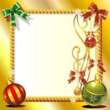 Christmas Ornaments Greeting Card-Cartolina Auguri Natale-Vector