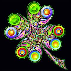 Shamrock Clover Psychedelic Design Quadrifoglio Psichedelico