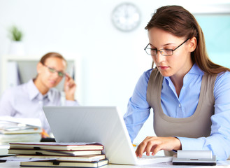 Secretary working