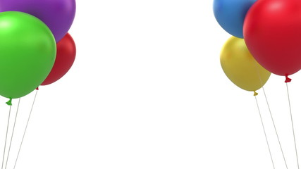 Balloons background, loop-able 3d animation with alpha