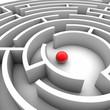 Labyrinth mit roter Kugel in der Mitte