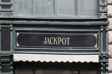 jackpot sign at buildig facade
