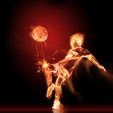 Burning footballer