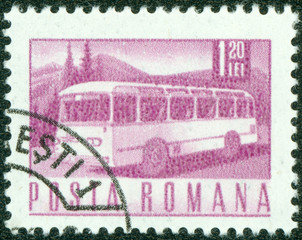 stamp printed in the Romania, depicts the postal bus